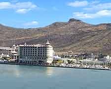 Port Louis waterfront photograph, showing the distinctive Mauritian Eagle building