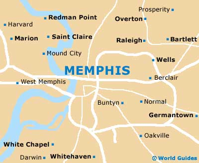 Memphis Maps And Orientation Memphis Tennessee TN USA - Memphis tennessee on us map