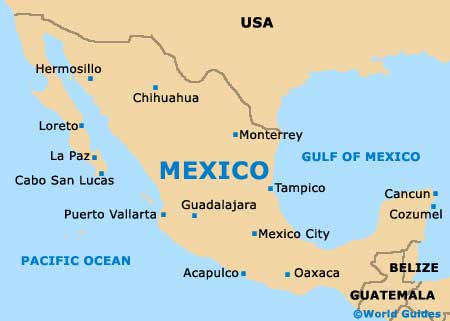 Map Of Mexico. Region Map of Mexico