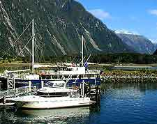 Picture of Milford Sound cruise boats awaiting their passengers