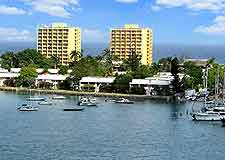 Waterfront view of modern resort complex