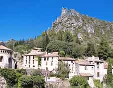 Photo of hillside houses in St. Guilhem-le-Desert, nearby Montpellier, Southern France