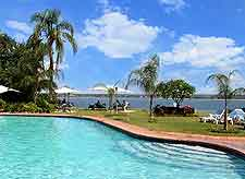 Photo of hotel pool in Mozambique, showing typical sunny weather