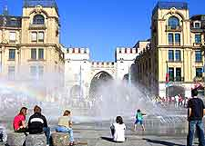Photo of fountains in front of the Karlstor Stachus