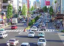 Nagoya Airport (NGO) Airlines and Terminals: View showing traffic in the city centre