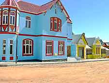 Image of the colourful housing lining the streets of Luderitz