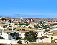 Aerial view across the harbour town of Luderitz, located located on the south-western coast