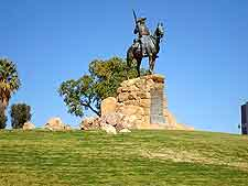 Futher view of the statue, located in front of the Old Fort (Alte Fest) in Windhoek