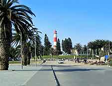 Walvis Bay view, showing the red and white lighthouse