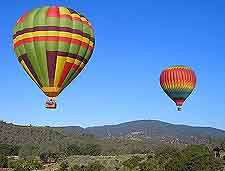 Photo of hot-air balloons high above the vineyards