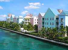 View of colourful buildings lining the waterfront of Paradise Island