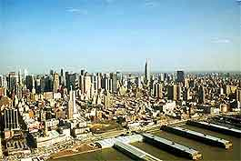 Skyline photo of New York, showing the waterfront and skyscrapers