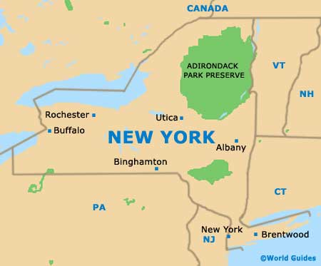 Orientation: State Map of New York - New York, New York (NY), USA