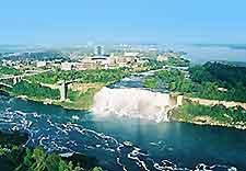 Aerial view over Niagara Falls