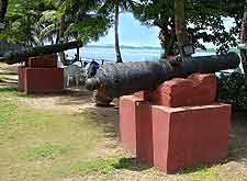 Image of historic cannons at the slave port in Badagry