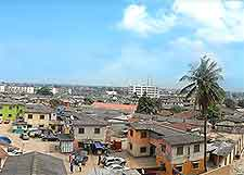 Aerial view of Lagos, showing distant skyline