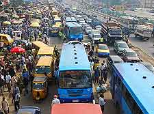 Photo showing rush hour traffic in Lagos, Nigeria