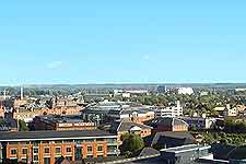 Aerial picture showing accommodation in Nottingham city centre