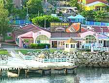 Waterfront view of shops and restaurants
