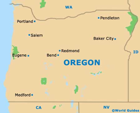 Oregon OR State Map