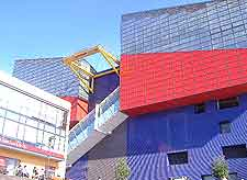 Photo of the colourful Osaka Aquarium architecture