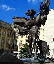 Photo of central sculpture in the sunshine