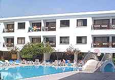 Image of local hotel, complete with swimming pool