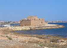 Waterfront view showing historic Fort of Pafos fortifications