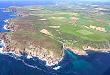 Aerial view of the Penwith peninsula, Penzance