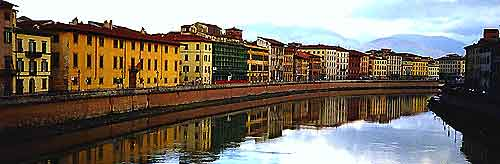 View of Pisa along the River Arno