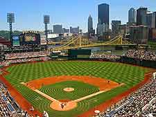 Further image of PNC Park, showing high-rise backdrop