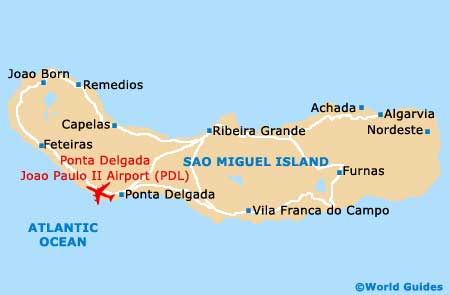 Map Of Ponta Delgada Joao Paulo II Airport PDL Orientation And - Portugal map with airports