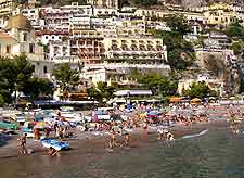 Positano beachfront image, showing summer tourists