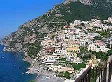View of the stunning Positano shoreline