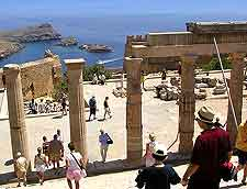 Photo of tourists at the ancient Acropolis at Lindos
