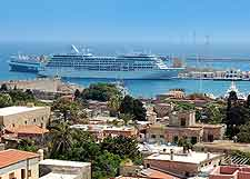 Coastal image of cruise liners and ferries