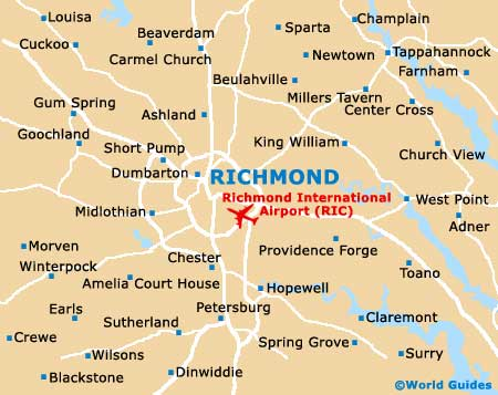 Richmond Maps And Orientation Richmond Virginia VA USA - Virginia in usa map