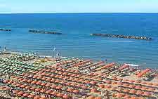 View of the endless beach parasols at Pesaro