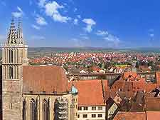 View of the bell tower in central Rothenburg ob der Tauber