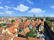 Rooftop view of central Rothenburg ob der Tauber, Germany