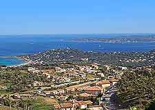 Aerial photograph of St. Tropez resort and coastline