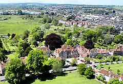 Aerial view of Salisbury Cathedral Close