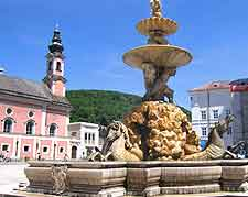 View of Residenzplatz fountain