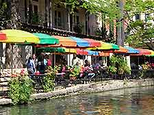Picture of the distinctive cafe parasols alongside the Riverwalk