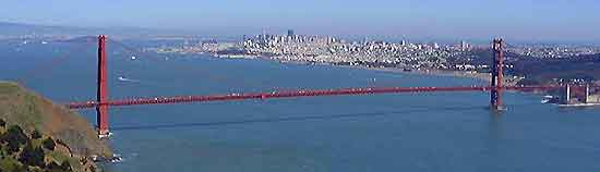 Panorama of San Francisco showing the Golden Gate Bridge