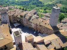 Aerial view showing the centre of San Gimignano
