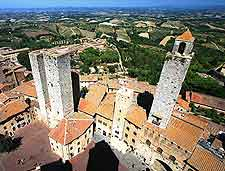 Aerial town view, showing the numerous towers