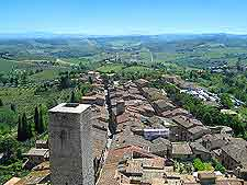 Aerial picture of the Tuscan townscape