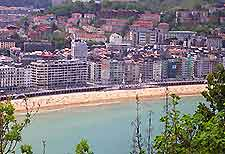 San Sebastian hotels and coastline aerial view