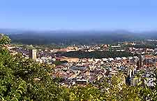 Aerial view across San Sebastian's Monte Igeldo Amusement Park